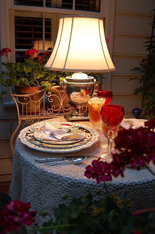 Romantic Dining Room: Yes, A Lamp Outside For A Romantic Dinner (1) From