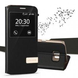 Samsung Galaxy S7 edge musta ikkunakuori.
