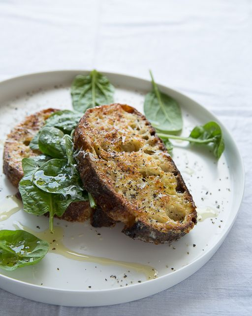 Savory Parmesan French Toast with Spinach - http://www.sweetpaulmag.com/food/savory-parmesan-french-toast-with-spinach #sweetpaul
