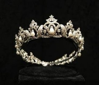 The Cartier Pearl Drop Tiara. This tiara was made by Cartier of Paris as a wedding gift for Princess Charlotte, mother of Prince Rainier, grandmother of Prince Albert. It was a gift from her husband, Count Pierre de Polignac (Prince Pierre of Monaco, Duke of Valentinois, as he became).
