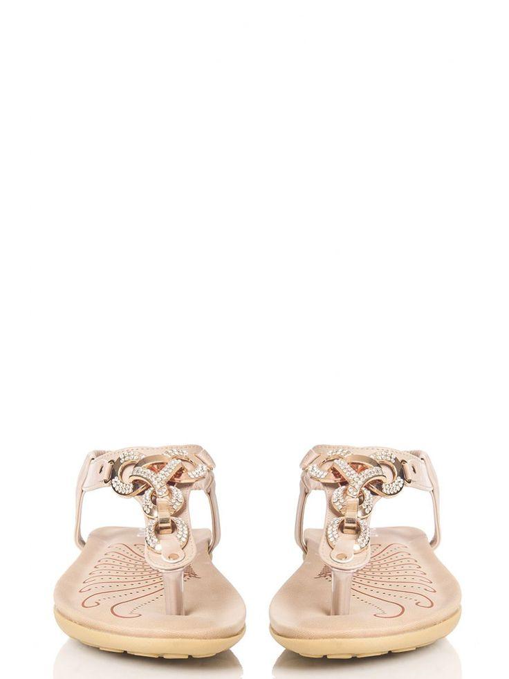 Beige Diamante Chain Sandals - Quiz Clothing