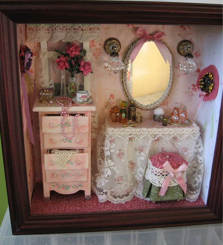 Lady's Dressing Table Roombox vignette. I learned so much by making so many mistakes on this!  :) And had tons of fun doing it, too