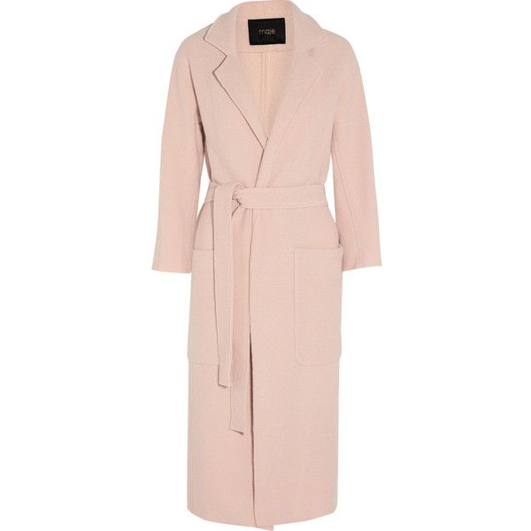 Maje Boiled wool coat (780 CAD) ❤ liked on Polyvore featuring outerwear, coats, coats & jackets, jackets, long coat, pink coat, maje, pastel pink coat and pastel coat