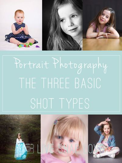 The Thee Basic Types of Shot in Portrait Photography - amazing the variety you can get with these three!