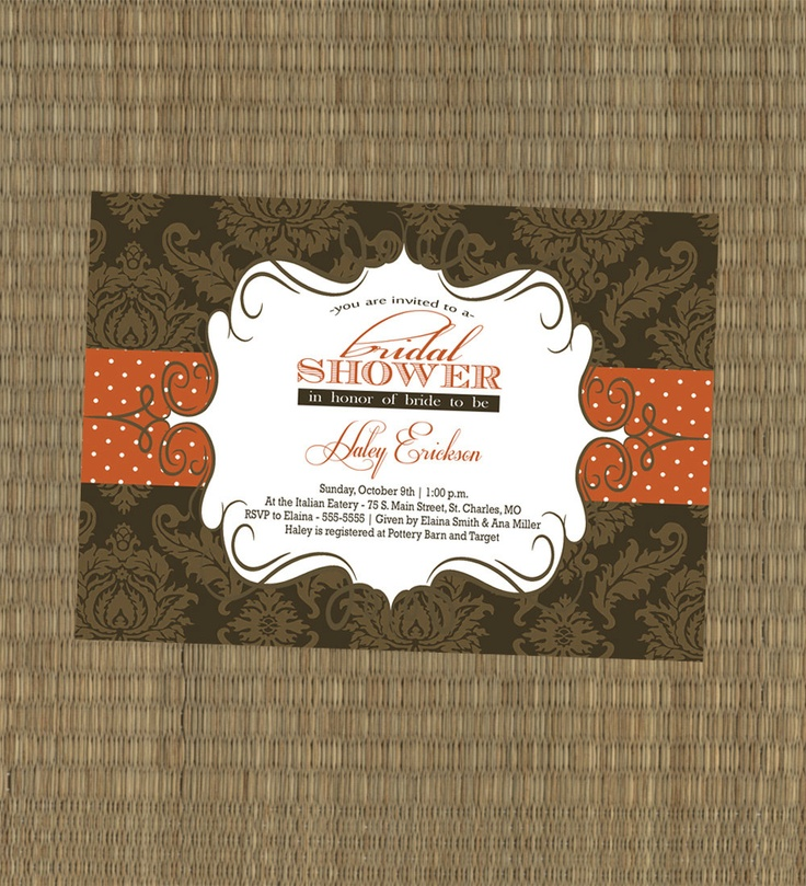 Bridal Shower Invitation - Fall Wedding Shower Invitation - Autumn Brown and Orange Fall Custom Printable Shower Invite - Damask. $15.00, via Etsy.