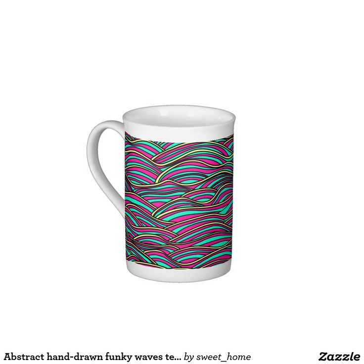Abstract hand-drawn funky waves texture. tea cup
