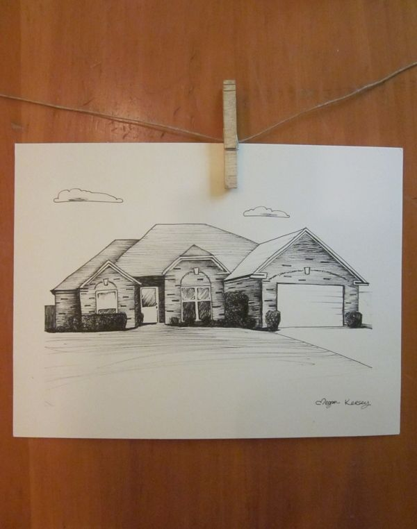 REALTORS: Gift idea for the buyer, original ink drawing of the house. #giftidea #supportlocalartists