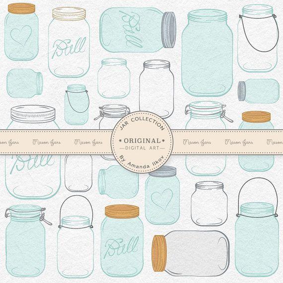 SPRING SALE Professional Mason Jar Clip Art / Jar by AmandaIlkov