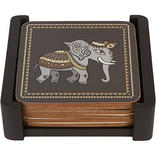 Planet Ethnic Asian Elephant Designer Wooden MDF Cork Coaster Set (6 coasters, each almost 4 X 4 inches) with matching wooden coaster holder >>> To view further for this item, visit the image link.