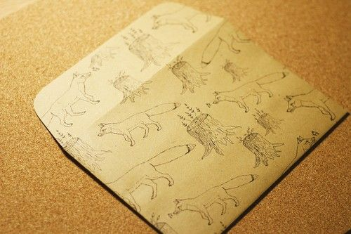 lovelyenvelopes - envelope with hand drawn illustration: lovely fox in the woods