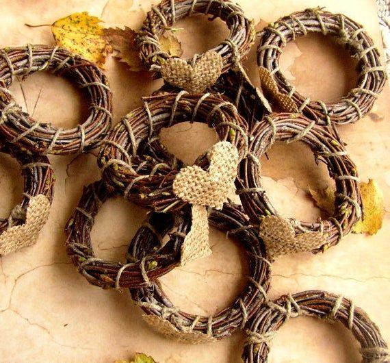 10 Rustic Wedding Napkin Ring, Rustic Wedding Decor, Burlap Fall Wedding, Rustic Napkin Holder, Birc