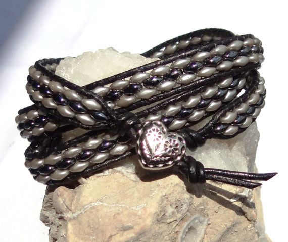 Gray & Hematite SuperDuo Leather 3X Wrap Bracelet