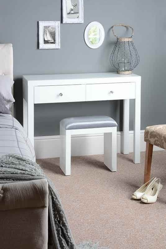 MADISON White Glass Dressing Table with 4 Legs