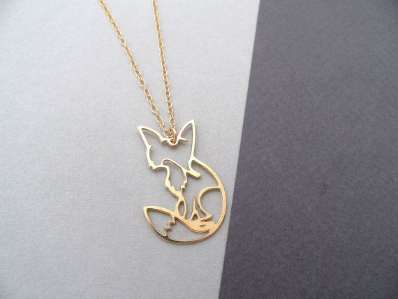 shy fox necklace fox jewelry gold fox by BonnyRabbitBoutique