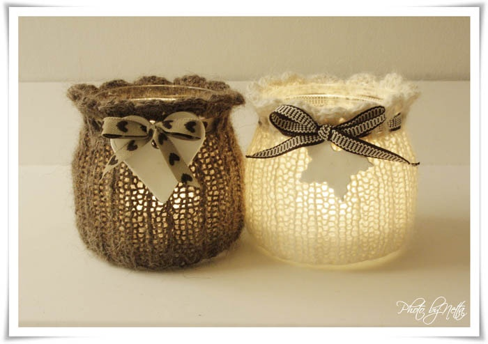 knitting wrap jars candlelight <3