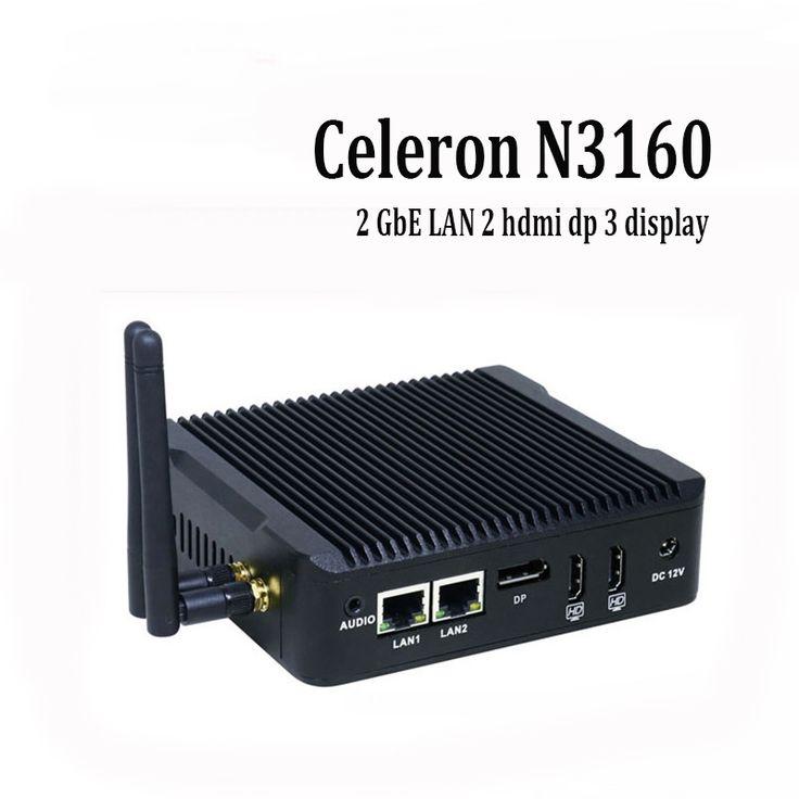 Desktop Firewall Router Mini Computer 2 GbE LAN Hdmi Dp 3 Display