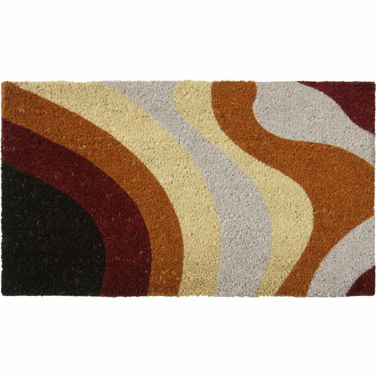 Rubber-Cal Brown Streaks Modern Door Mat (18 x 30) (Brown) (Coir)