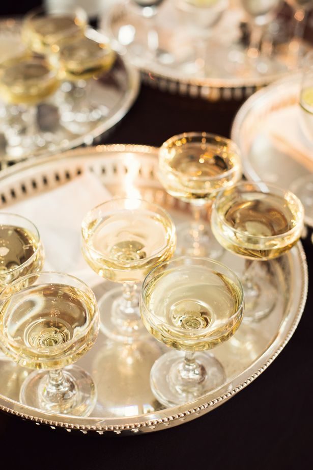 Vintage champagne glasses at the CFDA Awards//