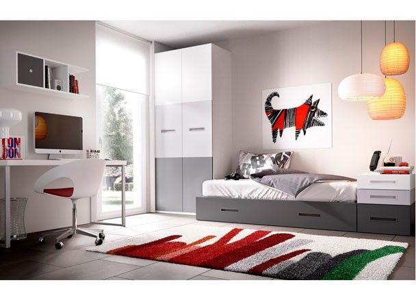 Dormitorio juvenil con cama nido  Armario