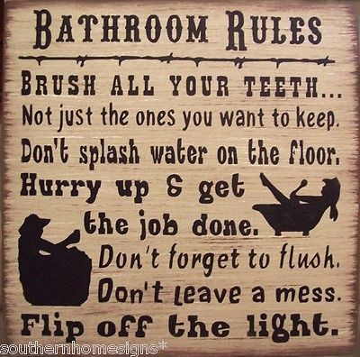 Western Bath Rules Primitive Country Distressed Wood Sign Home Decor