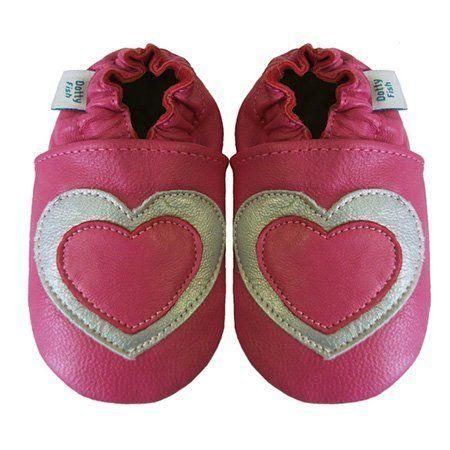 Acogedoras y suaves zapatos de cuero para bebé niña con suela de gamuza Dotty Fish Diseño De Corazón – 0-6 Meses – Rosado Y Plata