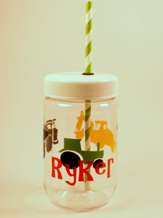 Personalized Plastic Mason Jar Cups  by RememberedOnceMore on Etsy, $5.00