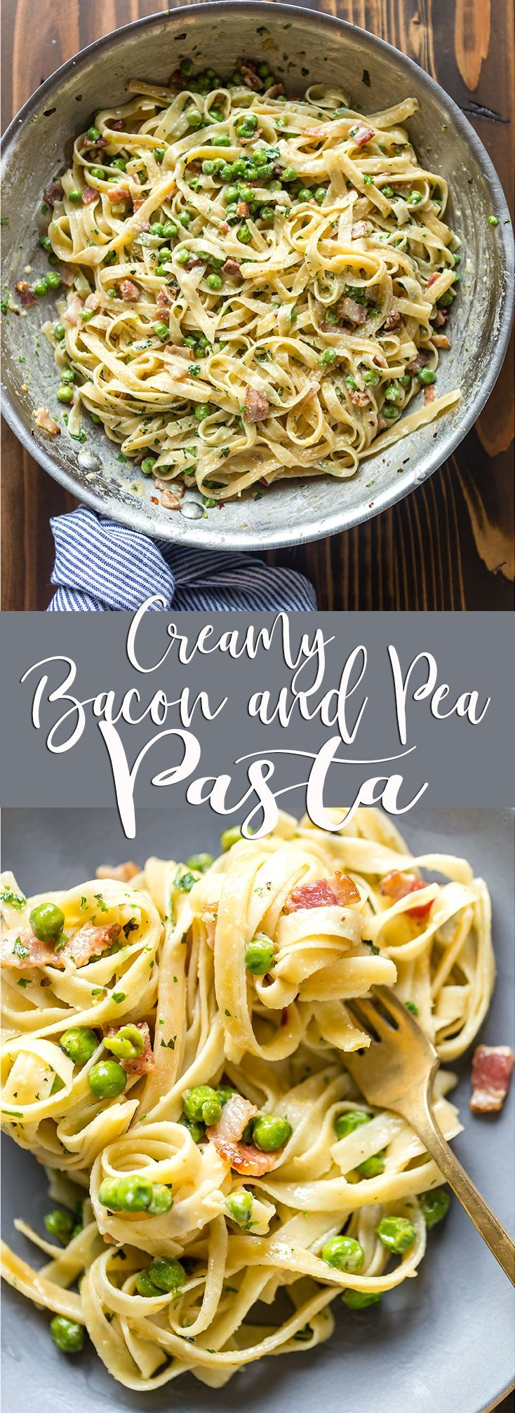 This quick Creamy Pasta with Pancetta and Peas only takes 15 minutes and is an easy and elegant dinner for any night of the week!