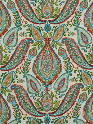 Paisley Upholstery Fabric by the Yard - Red Teal Green Fabric - Modern Aqua Fabric Yardage$35/yd