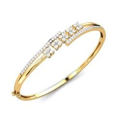 Buy Yellow Gold 18K 13.40 Diamond No Aliya Diamond Bangle Online at Candere.com. All India free shipping plus easy interest free EMI facility with lifetime exchange offer view here ~ http://www.candere.com/aliya-diamond-bangle.html