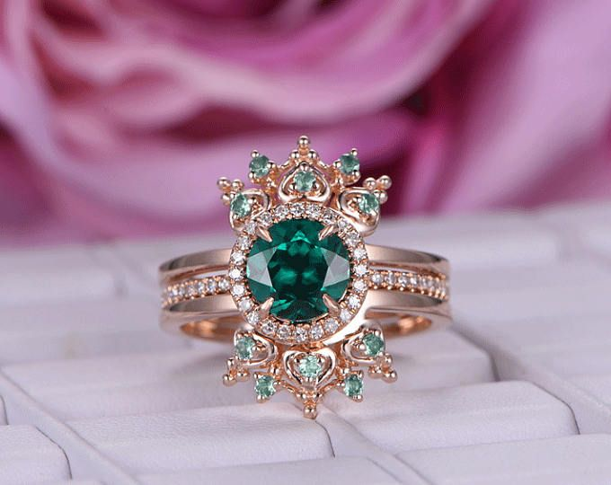 0f02163aa20304 6*8mm Lab-treated Emerald Engagement ring/Diamond wedding band in ...