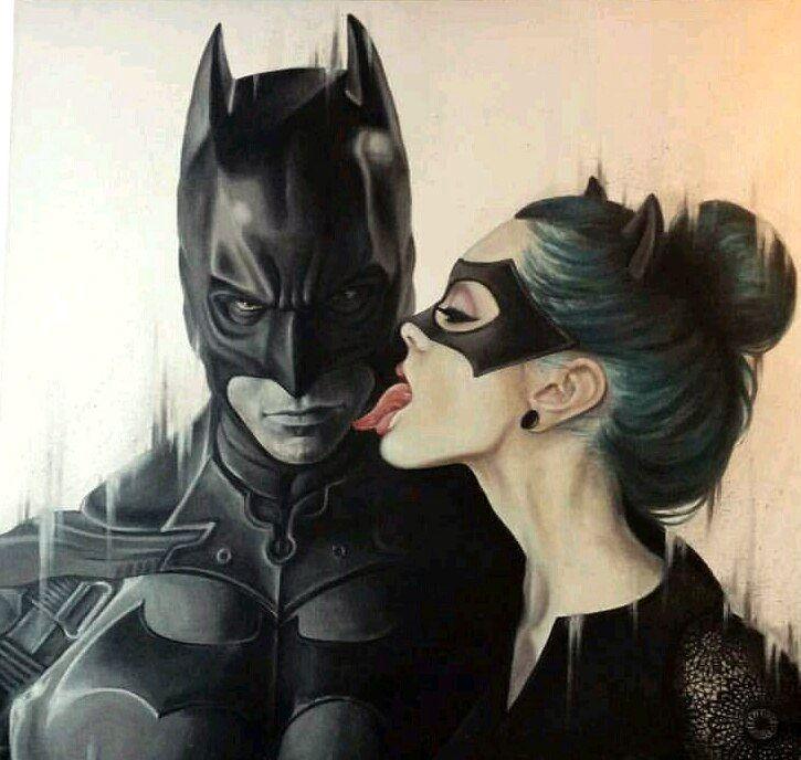 Картинка бэтмен и женщина кошка рисунок