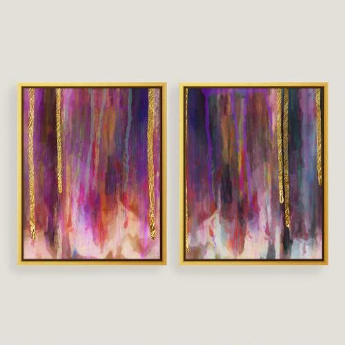 One of my favorite discoveries at WorldMarket.com: Purple Hues Canvas Wall Art with Gold Leaf Set of Two