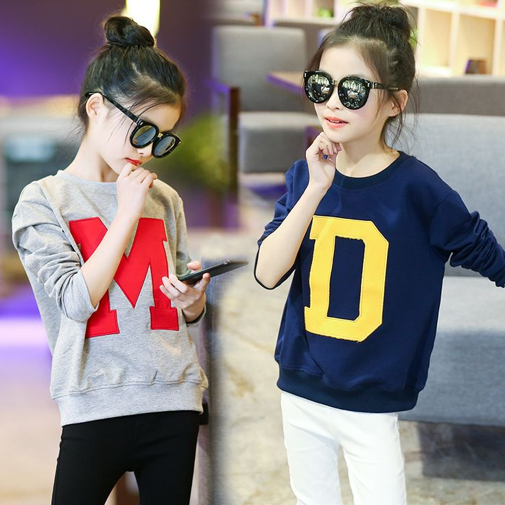 Children clothes girls autumn sweatshirt 100% cotton long full sleeves big kids casual letter cartoon tops 2018 girl outerwear //Price: $25.98 //     #baby