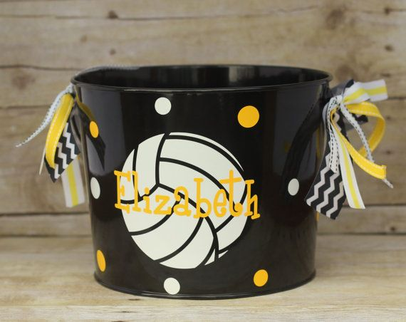 custom volleyball easter basket pail sports theme varsity personalized or monogrammed