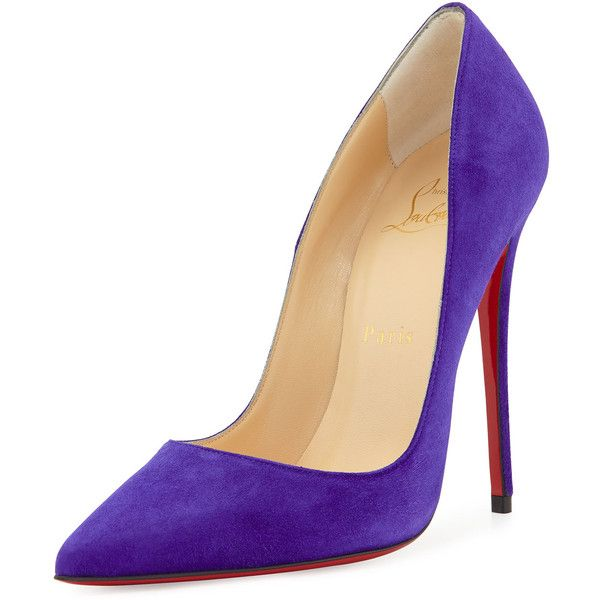 Christian Louboutin So Kate Suede Red Sole Pump (5,995 EGP) ❤ liked on Polyvore featuring shoes, pumps, louboutin, purple pop, shoes pumps classic, purple pumps, purple shoes, pointed toe pumps, red sole shoes and suede slip on shoes