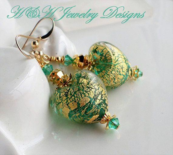 Venetian Glass Earrings Murano Heart Glass Earrings Emerald