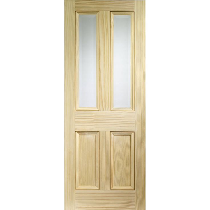 Internal Clear Pine Clear Glazed Edwardian Vertical Grain 4 Panel Door