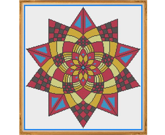 Mandala 5 - Confidence - Counted Cross Stitch by HornswoggleStore, $5.00 (geometric, colorful, yoga, zen, modern, abstract, medallion)