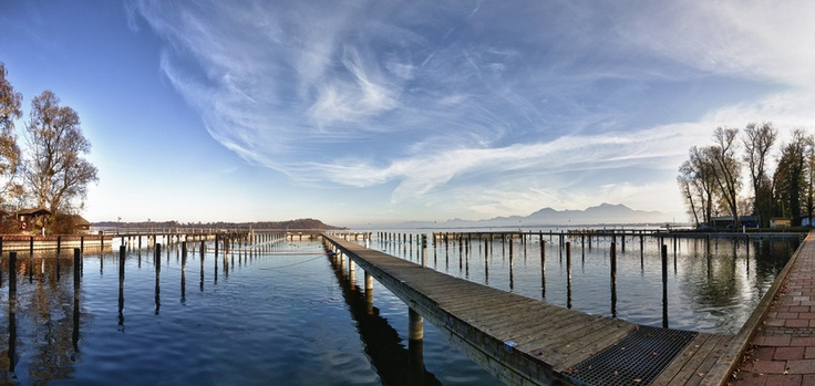 A peaceful afternoon at the Yachthotel in Prien, Chiemsee, Bavaria, Germany.