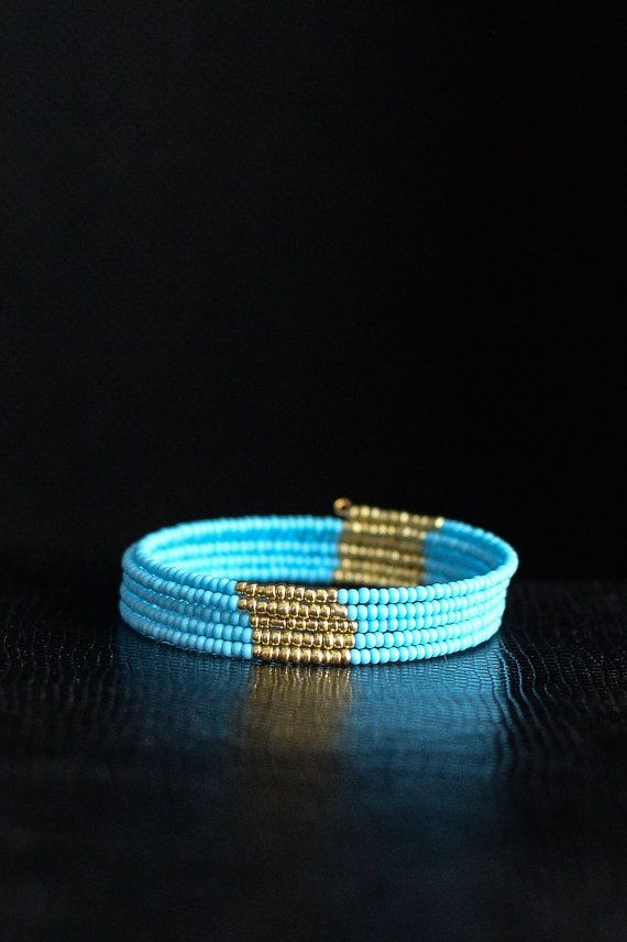 Blue and Gold Beaded Memory Wire Bracelet on Etsy, $10.00