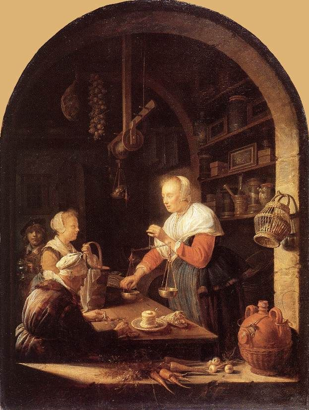 Gerard Dou: kruidenier 1647. Lourvre, Parijs. Het vroegste genreschilderij van Dou met boogvenster is de kruidenierswinkel uit 1647. Dit is de eerste 17e eeuwse Hollandse winkelscène. Het is een dorpskruidenier. Op de vensterbank wortels, uien en een kruik met olie. Aan de raampost een mand eieren. Op de planken verschillende kruidenierswaren. De bazin staat achter de toonbank. Ze weegt de inkopen van het meisjes met haar mand. Een oude vrouw zit haar geld te tellen.