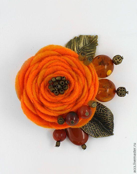 """Купить Брошь """"Кусочек солнечных лучей"""" - брошь в форме цветка из фетра - брошь, брошь цветы"""