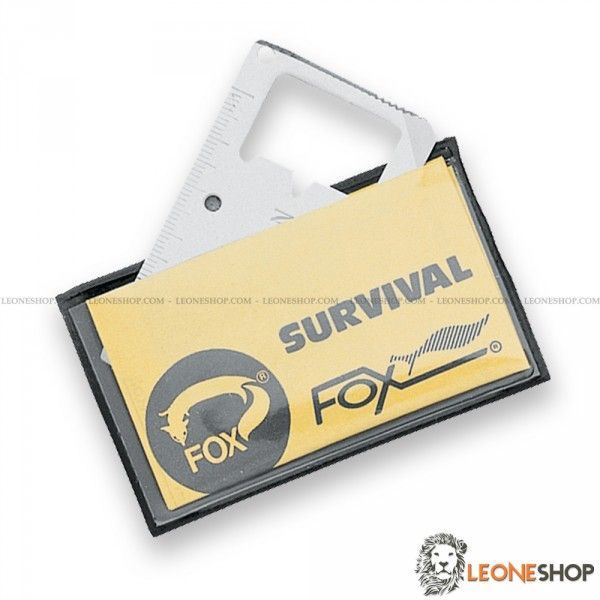 "FOX KNIVES FIELD Survival Multipurpose Plate 2000, survival camping tools and outdoor accessories, plate of 420A stainless steel - HRC 52/54 - Size 2.8"" x 1.6"" - With the following uses: 1) North-South indicator 2) Centimeter 3) Key-ring hole 4) Opener 5) Wrecking 6) Hacksaw - Flaker 7) Screwdriver 8) Can opener - Drilling cans 9) Tighten bolts 10) Blade Knife 11) Magnetic Zone 12) ruler - Supplied with plastic pouch - Design by Fox Cutlery Italy."