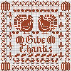 Free thanksgiving cross stitch chart by Lois Winston for DMC.