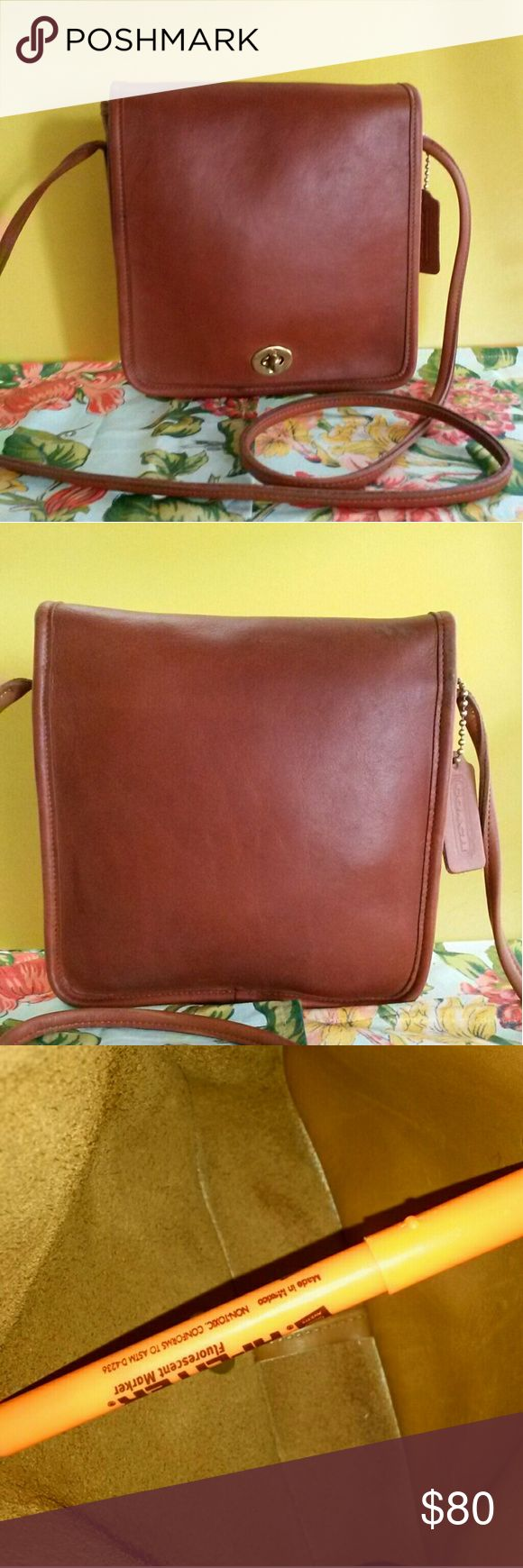 COACH VINTAGE COMPACT POUCH 1980's This Gorgeous deep Cinnamon color is sure to please, very eye catching in Color/classic look.Only flaw on entire bag, are marks across top of back, as flap folds over. Doesn't show when wearing., and the marks are small in appearance, see pic# 7. Marks appear more pronounced w my flash. No Scuffs or stains anywhere else inside or out. Piping is perfect! This bag is very vtg and other than mentioned top spots is in great Vtg condition! Purchasing Vtg bags…