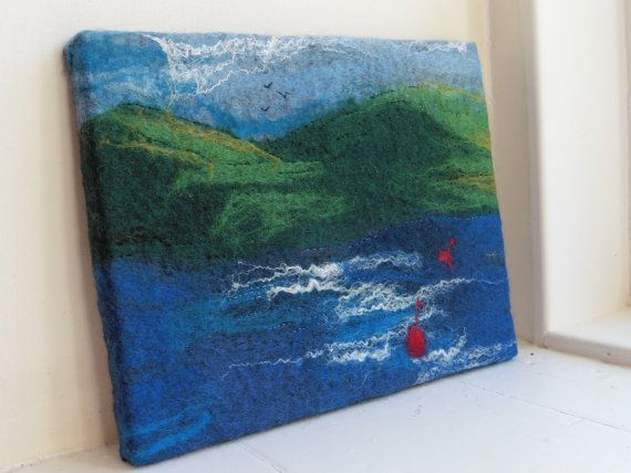 'Two Buoys' - Hand felted wallhanging Canvas by Deborah Iden. See more by LittleDeb on Pinterest, Folksy, Etsy and Facebook.
