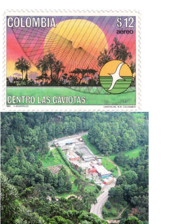 RENACIMIENTO EN EL TRÓPICO | MARIO CALDERÓN RIVERA Estampilla del correo aéreo de Colombia en homenaje al Centro Las GAVIOTAS en el año de 1983