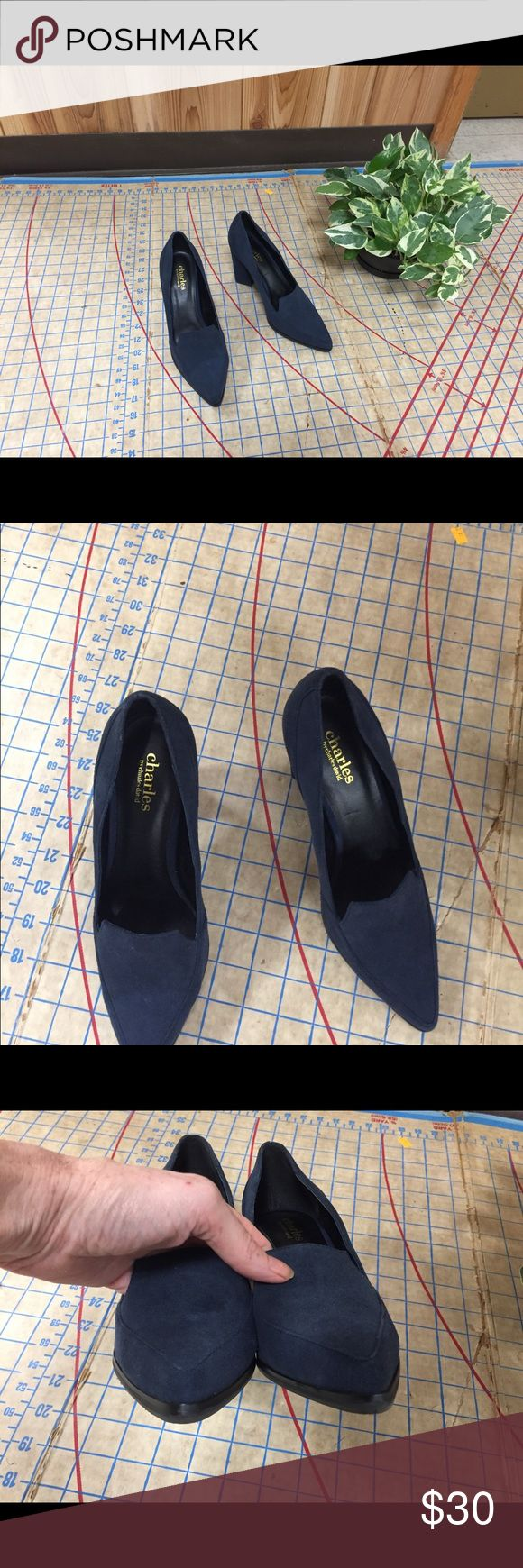 """Charles David blue suede heeled loafers size 6.5 In excellent condition Charles by Charles David blue suede heeled loafers size 6.5. Worn very little. Added Goodyear sole for traction. Menswear inspired block heel loafer. 3"""" heel. Pointed toe and vamp. Block heel is sculptural and has a very unique look. No damage or defects to speak of. Fun and different shoe that would work for office or play. Perfect holiday blue. Charles David Shoes Heels"""
