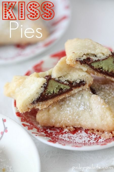 Kiss Pies from picky-palate.com. I should try this with a sugar cookie dough and different kinds of kisses! Mmm!