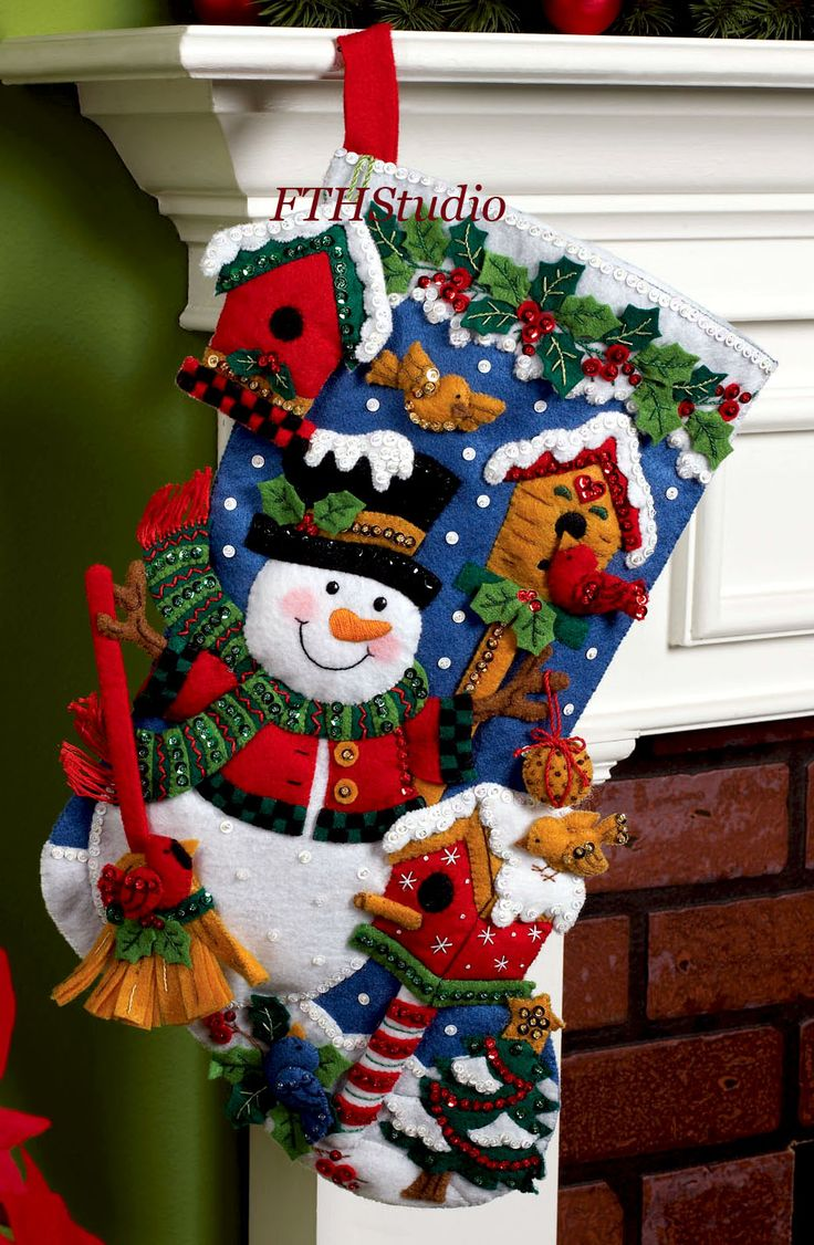 "Snowman with Birds 18"" Bucilla Felt Christmas Stocking Kit #86234 - FTH Studio International - move holly leaves up for name"